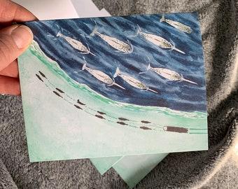 Blank notecards 5 pack dogsledding mushing narwhals watercolor husky