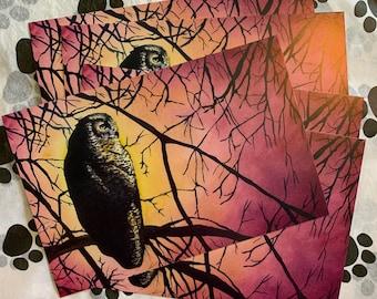 Owl watercolor night postcards