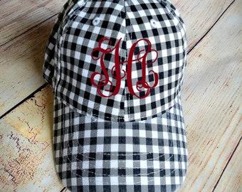 2379559acfa Monogram Buffalo plaid trucker hat - Personalized lumberjack hat -  Monogrammed White Black plaid hat - Buffalo plaid trucker hat