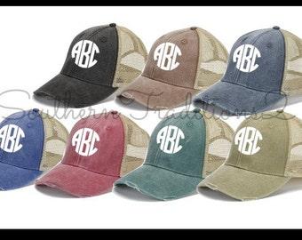 Monogram Trucker Hat - Monogram Distressed Trucker Hat - Monogram Raggy Trucker  Hat a5264feab7c