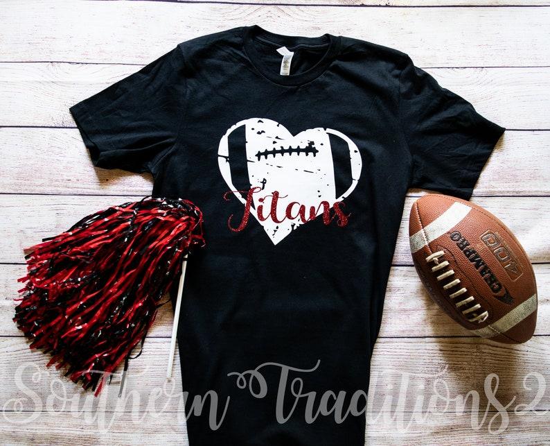 b8046a27 Monogram Football T shirt Distressed football heart tee | Etsy