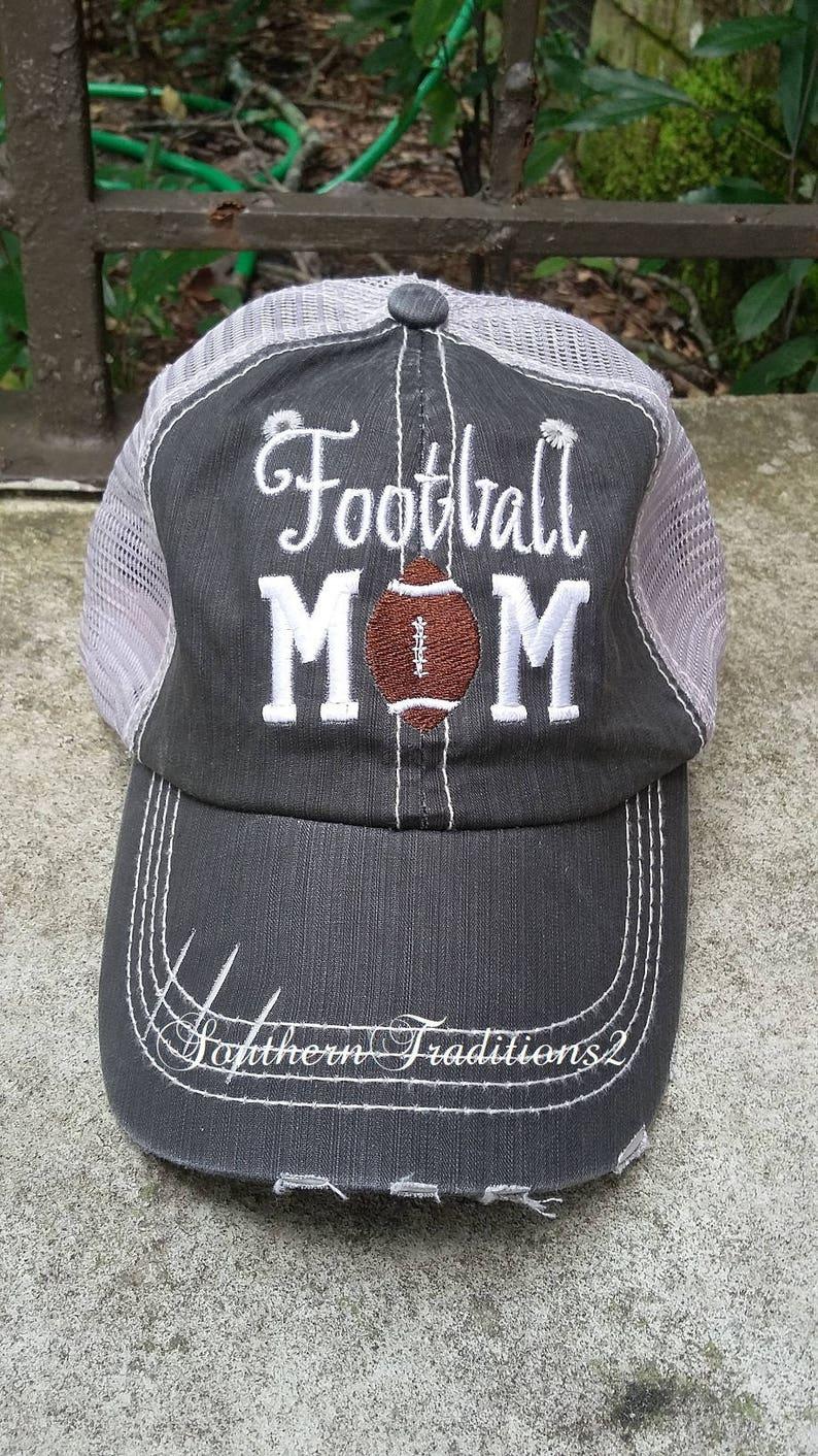 b220b4d7f29e1 Football Mom Trucker Hat Distressed Trucker Hat Football Mom