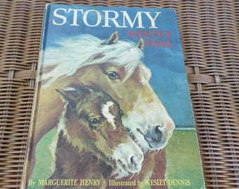 Horse story for kids vintage 1969 Stormy Misty's Foal by Marguerite Henry hardback former church library book