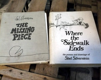 Where sidewalk ends etsy set of 2 shel silverstein books poetry hardback books the missing piece and where the sidewalk ends fandeluxe Choice Image