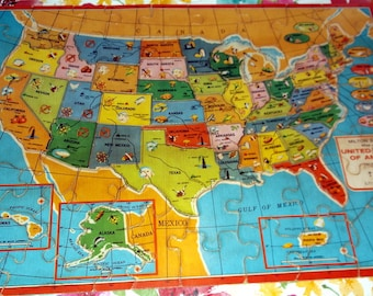 Usa map puzzle | Etsy
