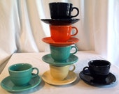 Fiesta Tea Cup and Saucer set Price is for 1 cup and saucer set Turquoise Cream Dark Blue and Orange