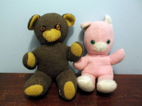Toys Plush Bear And Cat Lot Of 2 Vintage Plush Stuffed Animals Etsy