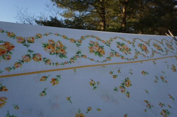 Burlington House Gold Star vintage twin sheet 72 x 104 floral sheet white background  roses and rosebuds in yellow orange pink green leaves