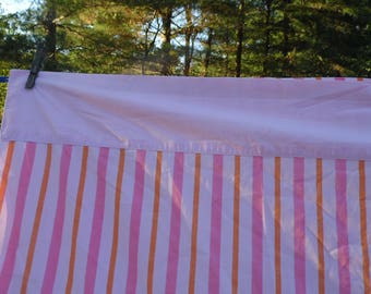 Twin flat sheet 72 x 104 vintage pink striped sheet with darker pink and orange stripes  for bed or repurpose by Fashion Manor JC Penney