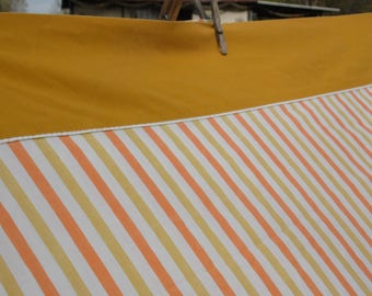 Fashion Manor vintage twin flat sheet 72 x 104, striped with solid gold hem, white body striped in gold and orange for bed or repurpose