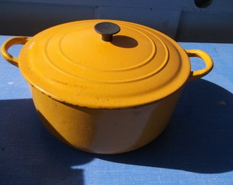 VIntage Le Creuset Dutch Oven Orange Yellow Enameled Cast Iron