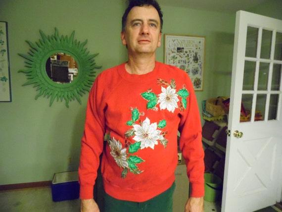e78f1d2829fb Ugly Christmas Sweater V-12 FREE Shipping USA Poinsettia