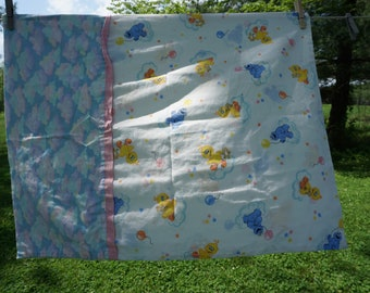 """Child's vintage pillowcase handmade/homemade with baby Sesame Street characters Big Bird, Cookie Monster clouds at the hem 27 3/4 x 21 3/4"""""""