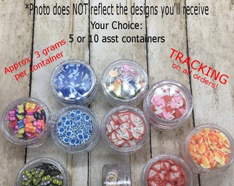 Random Sample Container Fimo Slices * Sample Fimo Slices * Slime Topping * Resin Art * Clay Sprinkles * Fake Sprinkles *  Polymer Clay