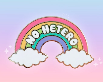 NO HETERO enamel pin with gold plating and rubber backings