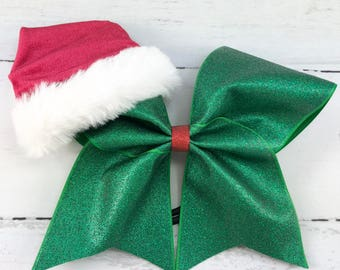 1 cheer bow girls large cheer bow christmas cheer bow christmas green glitter bow with santa hat