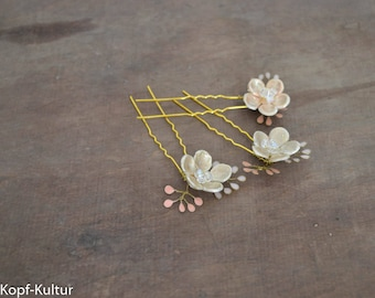 Flower Hairpin Set of 3 for Bridesmaids Bridal Hairpins Gold Rosé