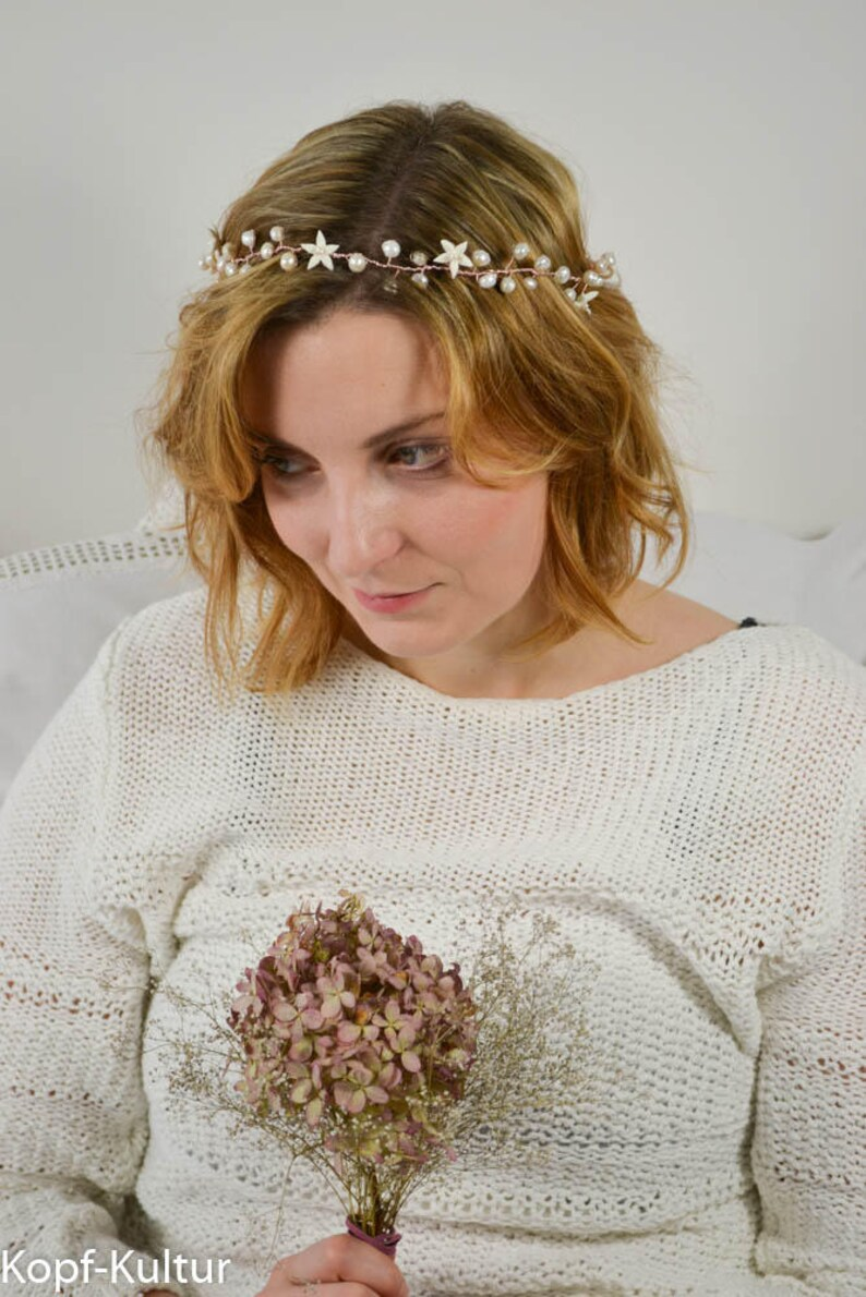 Bridal Circlet Bridal Halo Bridal Hairvine Rosegold Freshwaterpearls Mermaidstyle