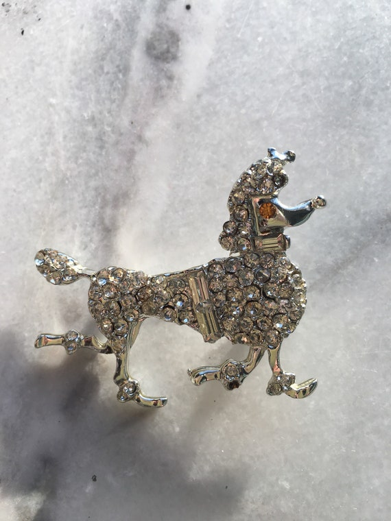 Vintage 50s Rhinestone Continental Trimmed Poodle