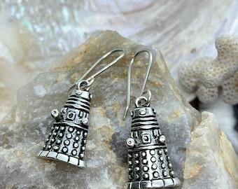 Dalek Earrings, Robot Enamel Charm, Handmade Sterling Silver Hooks, Doctor Who Jewelry, Free Shipping