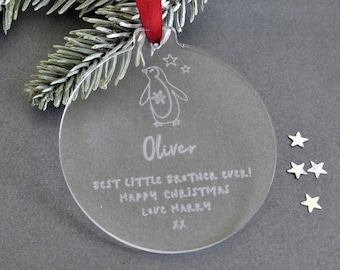 little brother personalised christmas bauble personalised christmas bauble decoration gifts for him christmas gifts for brothers