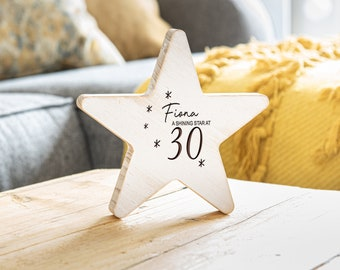 30th Birthday Gift For Her Personalised Wooden Star