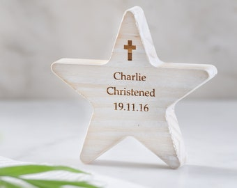Personalised Christening Wooden Star Keepsake Gift | Christening Cross | Christening Gift | Gift For Godchild | New Baby Keepsake