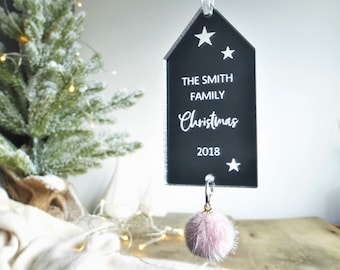 personalised family christmas decoration pompom decorations stocking fillers for friends family gifts under 10