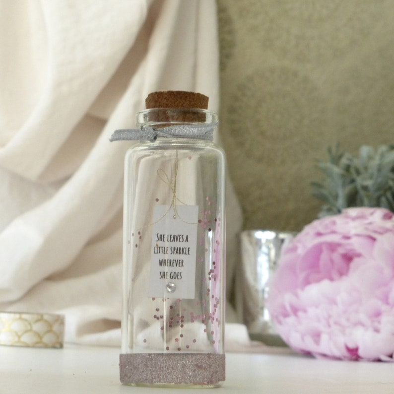 tiny glass bottle message bottle mum home gifts she leaves a little sparkle Gift for her best friend gift auntie sister