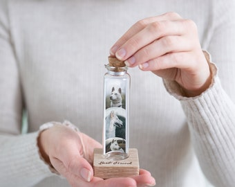 Dog Memorial, Personalised Photo Gift - Personalised Message in a Bottle - Glass Gift -  Photo Booth Style  - Wrap Around