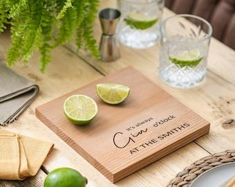 Housewarming Gift, New Home Gift, Personalised Gin O'clock Chopping Board