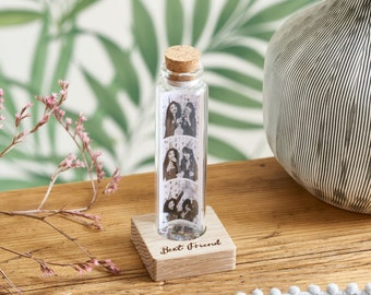 Best Friend Photo Gift - Personalised Message in a Bottle - Glass Gift - Personalised Gift For Her - Photo Booth Style  - Wrap Around
