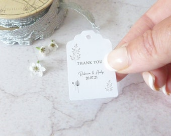 Personalised Wedding Favour Tags - Thank You Tags - Wedding Tags - String or Ribbon Included - Monochrome Design