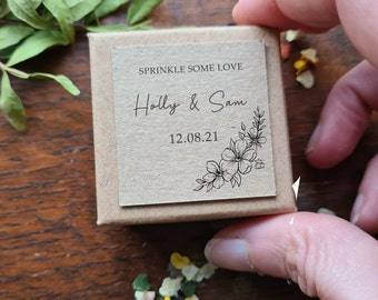 30 x Bespoke Wedding Confetti Boxes, Personalised Confetti Boxes, Biodegradable Petal Confetti, Sprinkle Some Love