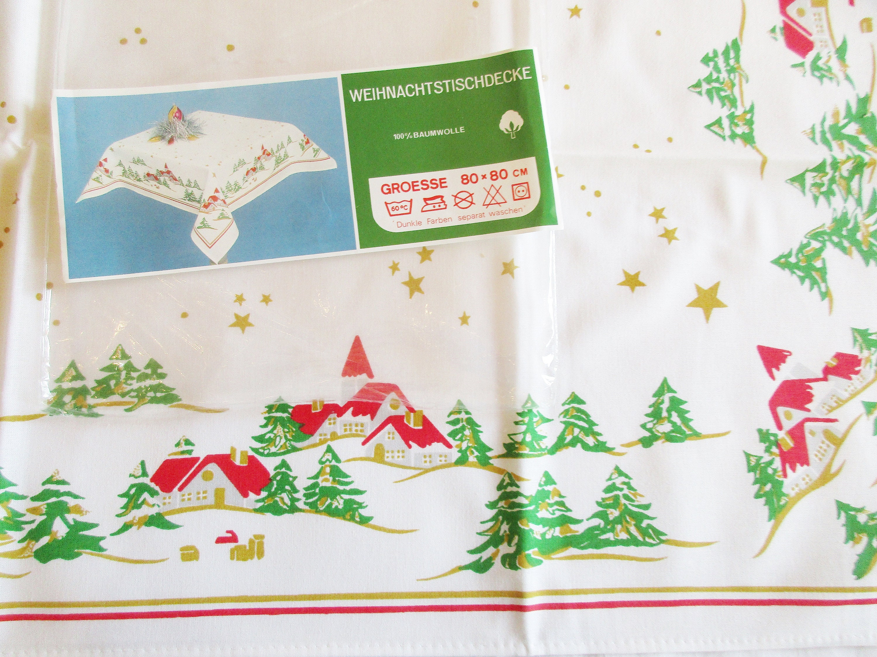 Lovely Retro German Vintage Christmas Printed Cotton Tablecloth with Winter Wonderland, New Unused Stock