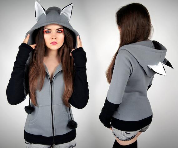 Hoodie wolf grey fox black kawaii nerd cosplay anime ears goth  06f7e9b672