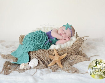 SALE Crocheted Newborn Mermaid Outfit Baby Photo Prop Baby Girl BEST SELLER