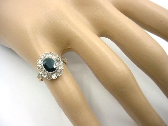 Antique Sapphire Diamond Platinum Halo Ring--Prin… - image 3
