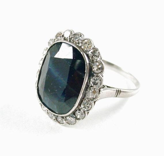 Antique Sapphire Diamond Platinum Halo Ring--Princ