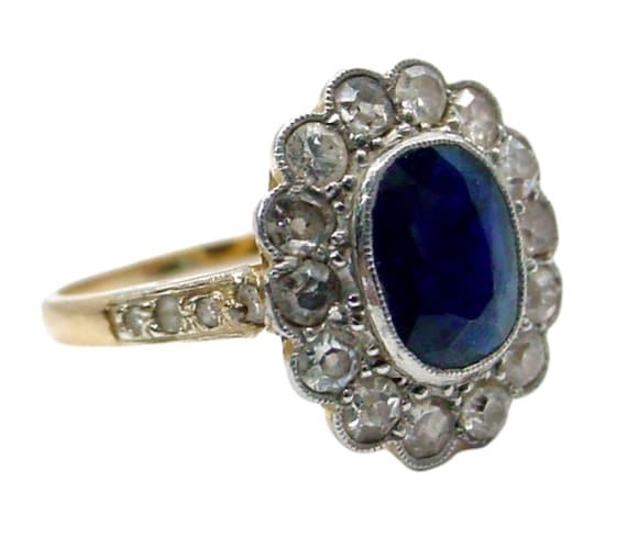 Antique Sapphire Diamond Platinum Halo Ring--Prin… - image 1