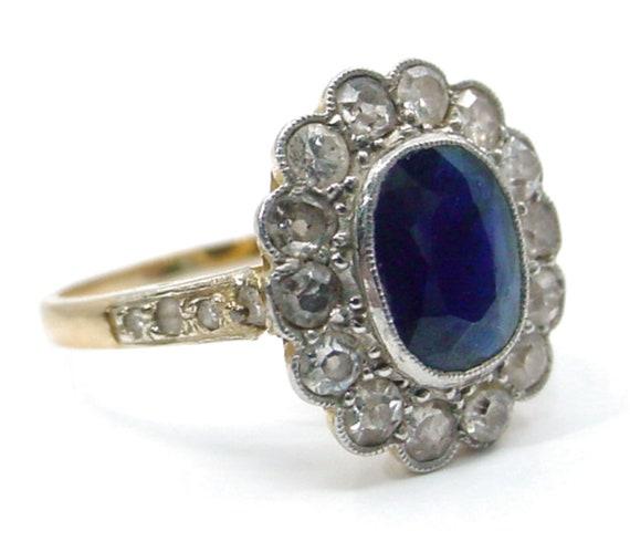 Antique Sapphire Diamond Platinum Halo Ring--Prin… - image 8