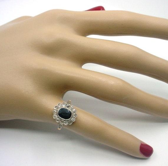 Antique Sapphire Diamond Platinum Halo Ring--Prin… - image 2