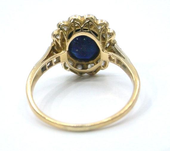 Antique Sapphire Diamond Platinum Halo Ring--Prin… - image 7
