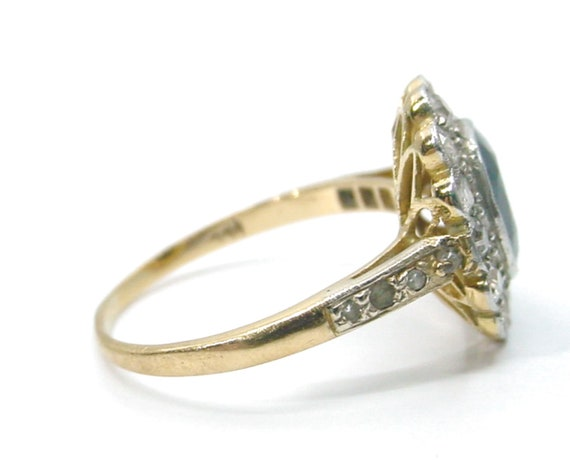 Antique Sapphire Diamond Platinum Halo Ring--Prin… - image 6