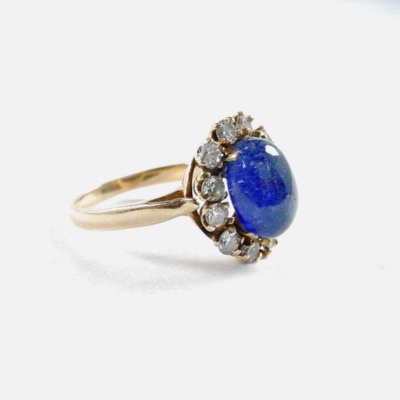 Princess Diana Sapphire Diamond 14k Gold Halo Ring