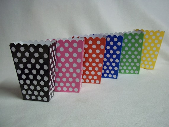 Lot of 12 Mickey Minnie Mouse Disney Polka Dots Treat goody Boxes Favor Party