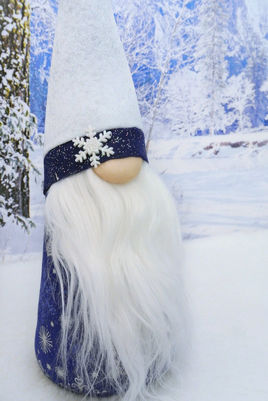 Blue White /& Silver Christmas Gnome Winter Gnome Tomte Nisse