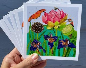 "Card Set of ""Lotus Iris Hummingbird"""