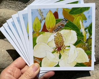 """Card set of """"White Crowned Sparrow Magnolia Tree"""""""