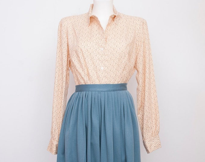 NOS vintage 80s shirt beige floral size M